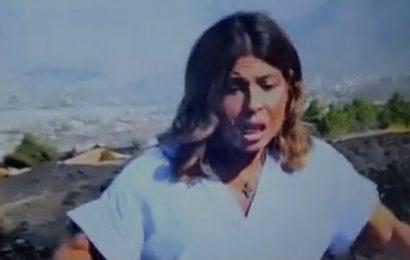 El terremoto de 4'2 en La Palma sorprende a una periodista de televisión en pleno directo