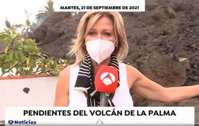 Críticas a Susanna Griso y Pedro Piqueras por acercarse demasiado a la lava en La Palma