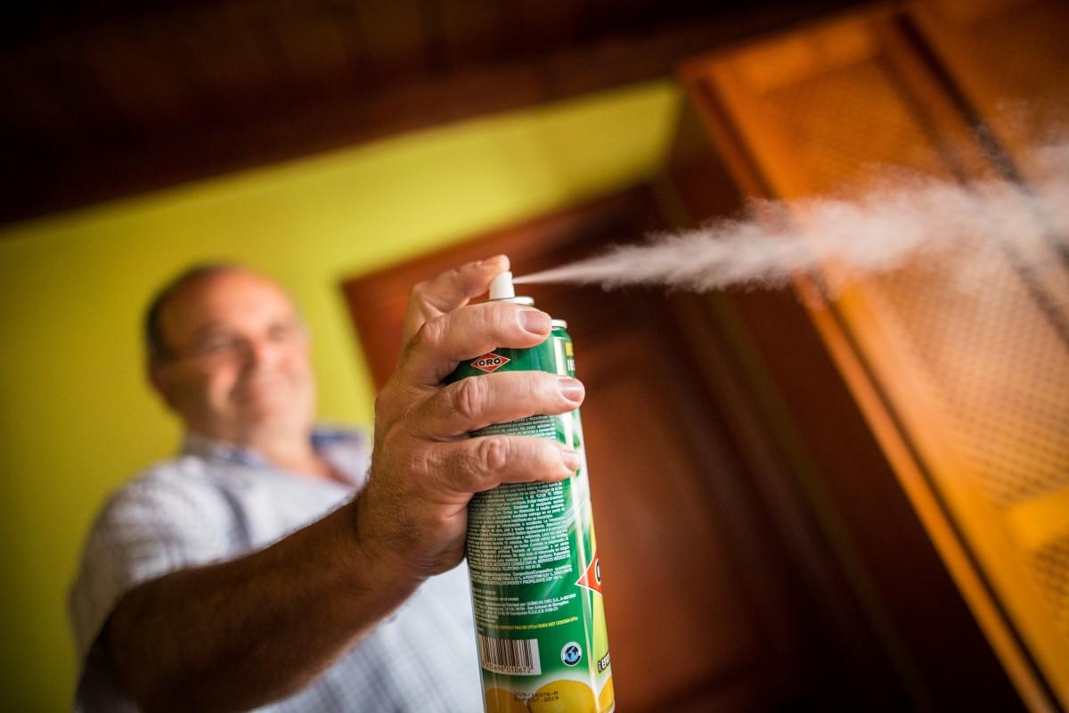 La única arma que tienen los vecinos para combatir a los insectos es el uso de insecticida | FOTO: Andrés Gutiérrez