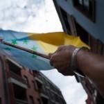 Bandera de las siete estrellas verdes, enarbolada durante una manifestación en la capital tinerfeña./ FRAN PALLERO