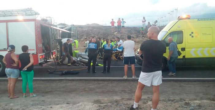 Dos heridos tras el vuelco de un turismo en Arico