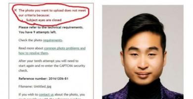 """Un robot de pasaportes rechaza la fotografía de un joven de origen asiático por tener """"los ojos cerrados"""""""