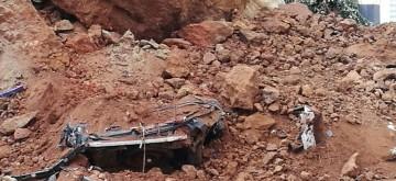 Abierto solo un carril de la TF-217 en Santa Úrsula tras el derrumbe de un muro