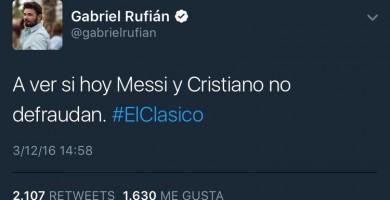 Rufián triunfa con un tuit sobre 'El Clásico'