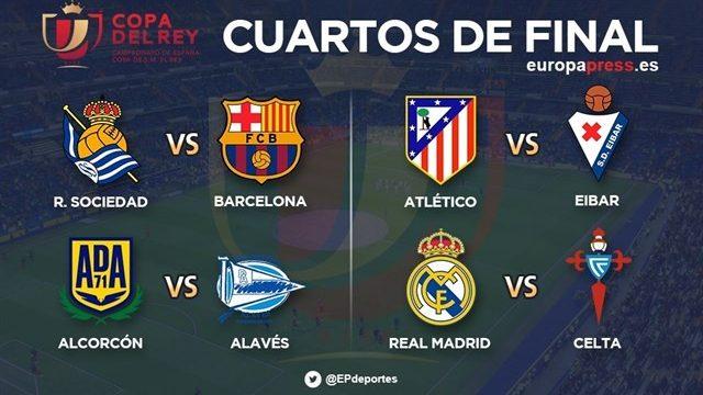 Real Sociedad, Celta y Eibar, rivales en cuartos de FC Barcelona, Real Madrid y Atlético