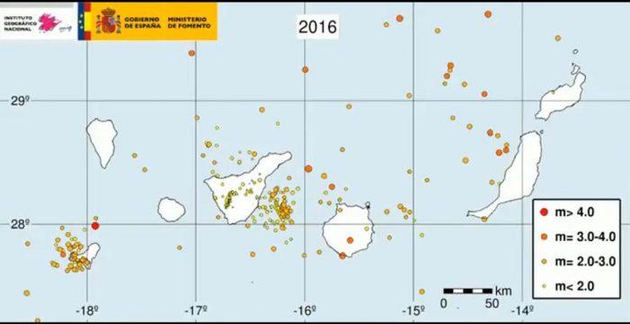 Canarias sufrió 388 terremotos en 2016
