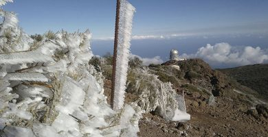 Hielo en las carreteras de Tenerife