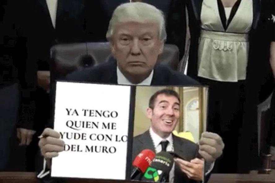 Captura del vídeo sátira que circula en las redes sociales a raíz de las declaraciones de Fernando Clavijo sobre Donald Trump y México | TWITTER