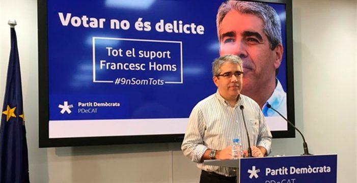 """Homs dice que el Estado """"ha perdido"""" si hay penas contra el independentismo"""