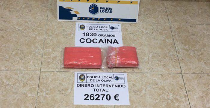 La Policía de La Oliva incauta 1,8 kilos de cocaína y 26.270 euros en Corralejo