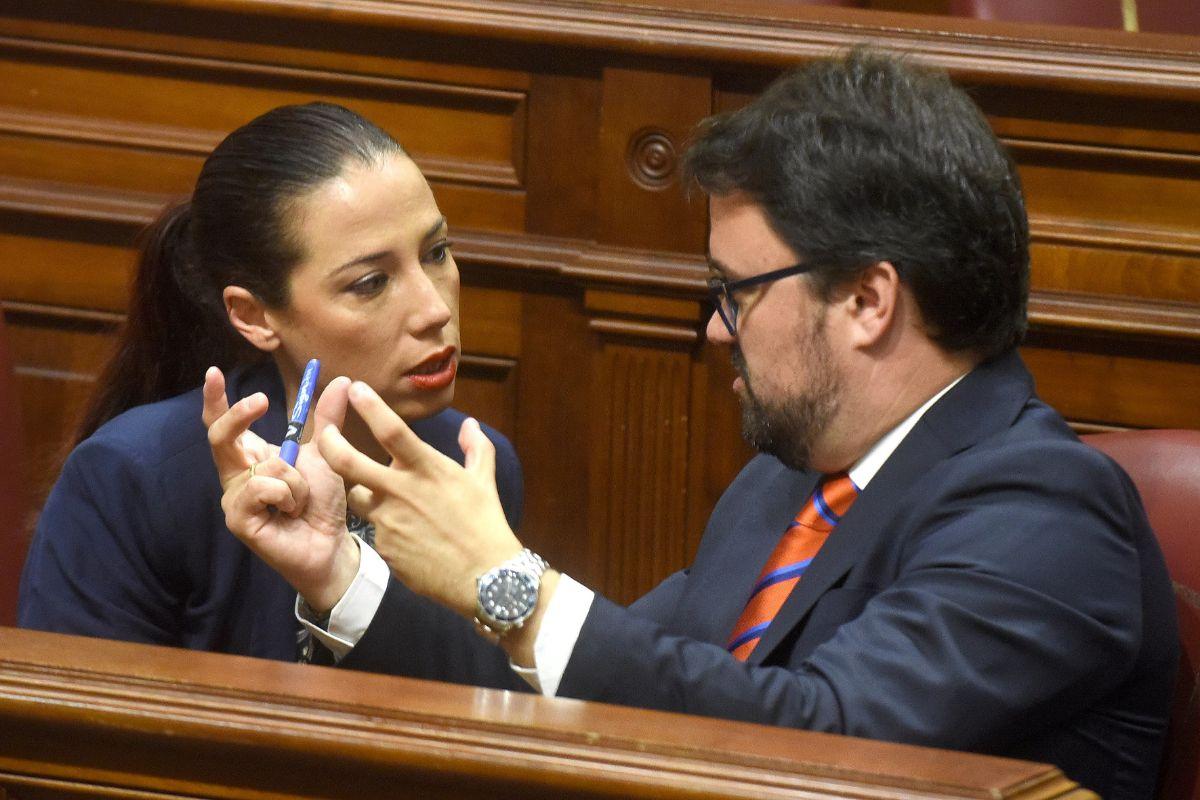 Patricia Hernández (PSOE) y Asier Antona (PP). / SERGIO MÉNDEZ