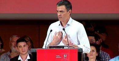 Pedro Sánchez durante un acto de su campaña a las primarias del PSOE | EFE