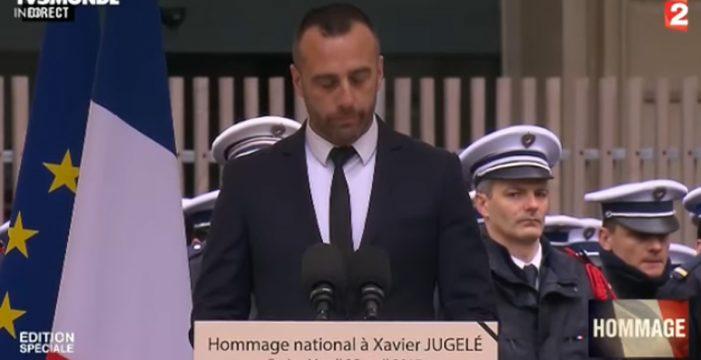 Conmovedor homenaje del marido del policía asesinado en los Campos Elíseos