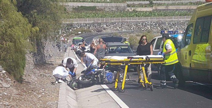 Un motorista herido grave en un accidente de tráfico en Guía de Isora