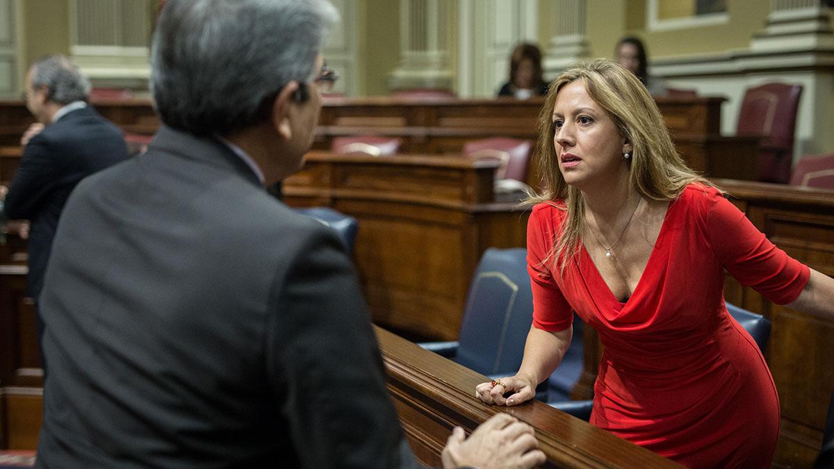 Rosa Dávila (CC), junto a Román Rodríguez (NC), en el salón de plenos, durante una sesión del Parlamento canario. Andrés Gutiérrez