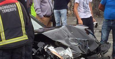 Un herido tras una colisión de dos vehículos en La Victoria de Acentejo