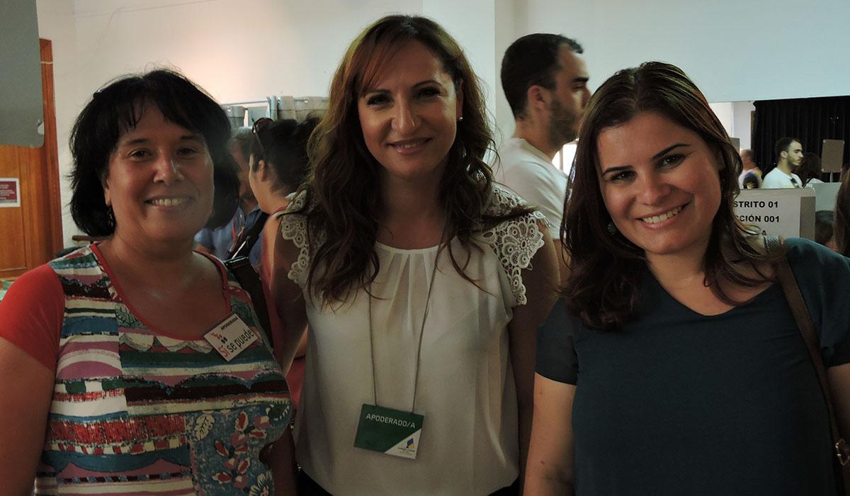 Mayca Coello (Sí se puede), Nazaret Díaz (CC) y Mari Brito (PSOE), cabezas de cartel de los comicios de 2015. Norchi