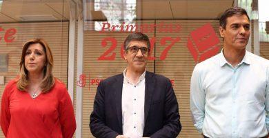 Susana Díaz, Patxi López y Pedro Sánchez, durante el debate televisivo que mantuvieron esta semana con vistas a las primarias del domingo. Europa Press