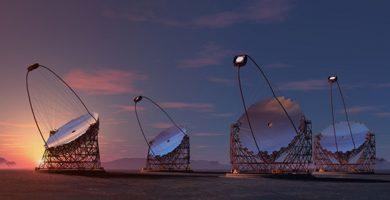 Imagen del IAC de los prototipos de los telescopios Cherenkov que se instalarán en La Palma. DA