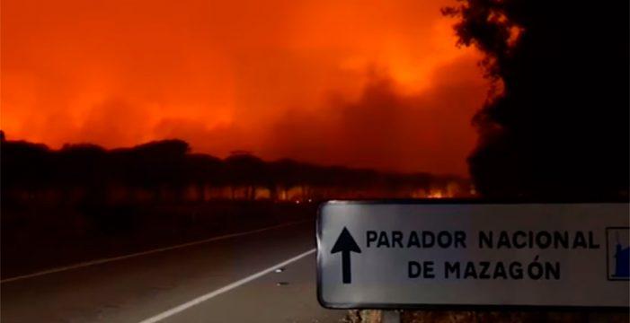 Más de 2.000 evacuados por un incendio forestal en los límites de Doñana