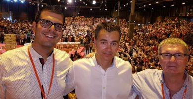 Zeben González, Héctor Gómez y Pedro Ramos, en el Congreso Federal del PSOE celebrado este fin de semana. DA