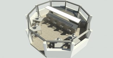 Infografía de la futura imagen que tendrá el kiosco de la plaza de la Constitución una vez que culminen las obras de la primera fase de rehabilitación. DA