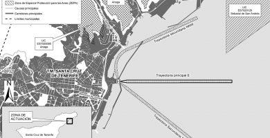 Mapa de las tres trayectorias previstas por el helicóptero de salida al mar, así como de las zonas más sensibles al ruido y afectadas por el medio ambiente: Anaga y San Andrés. DA