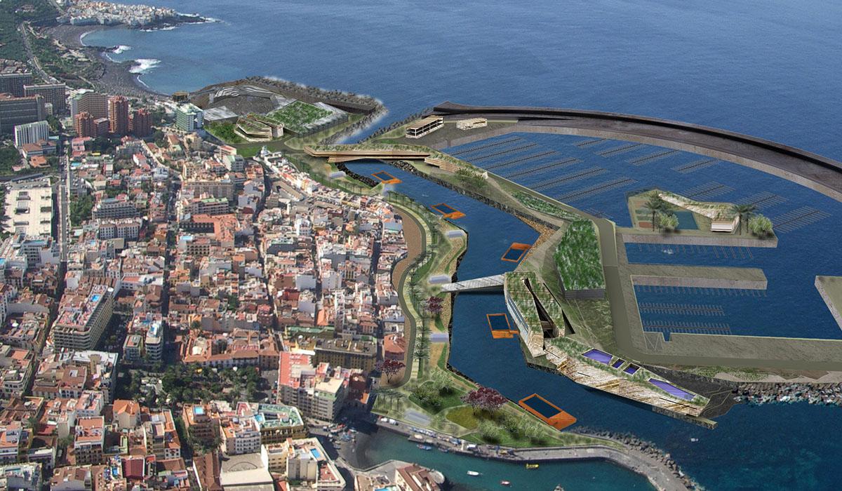 Infografía del proyecto de Martín Menis del puerto deportivo, pesquero y turístico del Puerto de la Cruz. DA