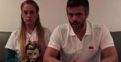Lilian Tintori y Leopoldo López en una imagen extraído de un vídeo grabado el día 17 de julio   YOUTUBE