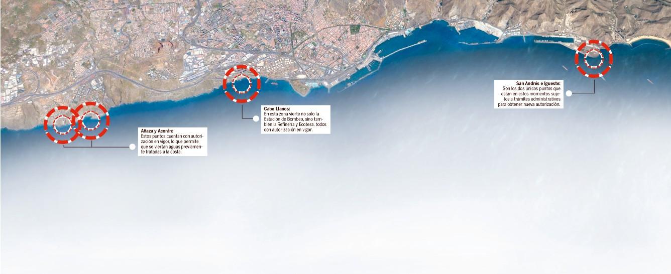 Zonas de vertidos de aguas residuales al mar en Santa Cruz de Tenerife   DA