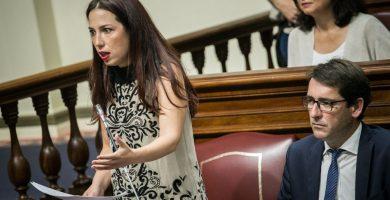La presidenta del grupo parlamentario Socialista, Patricia Hernández, y el portavoz, Iñaki Lavandera, durante una sesión de control al Gobierno. Andrés Gutiérrez