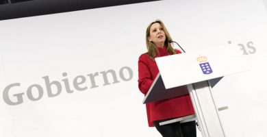 Rosa Dávila, portavoz del Gobierno canario, durante una rueda de prensa. Fran Pallero