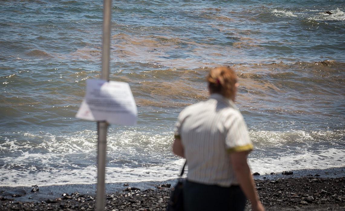 Playa en Tenerife con bancos de cianobacterias donde se desaconseja el baño; en foto inserta, Jesús Cisneros. A. G.