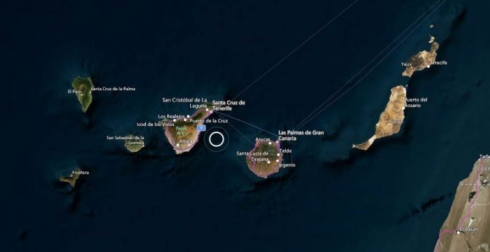 Registran un terremoto de magnitud 2,8 entre Tenerife y Gran Canaria