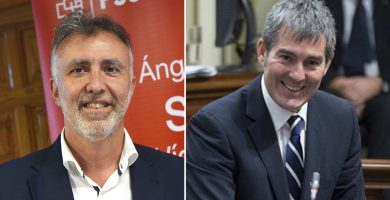 El secretario general del PSOE en Canarias, Ángel Víctor Torres, y el presidente Fernando Clavijo (CC). DA