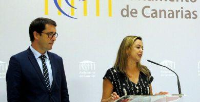 El actual portavoz parlamentario del PSOE, Iñaki Lavandera, y la presidenta adjunta, Dolores Corujo. DA