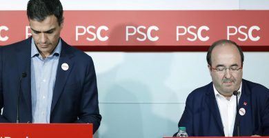 Pedro Sánchez y Miquel Iceta, en su última comparecencia conjunta, la semana pasada en Barcelona