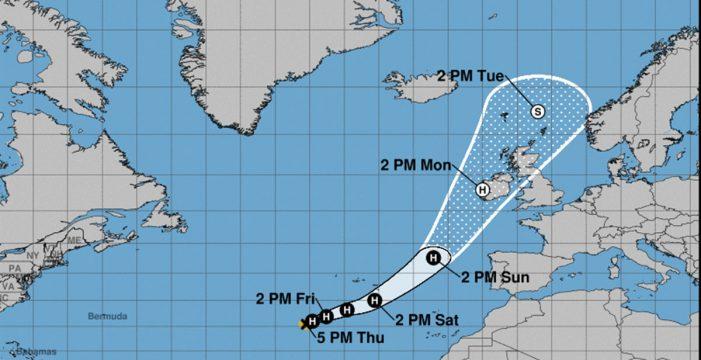 Ophelia pasará el sábado junto  a las Azores camino de Irlanda