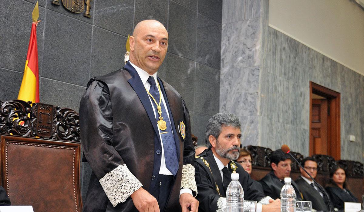 El presidente del tribunal Superior de Justicia de Canarias, Antonio Doreste, durante un discurso. YouTube