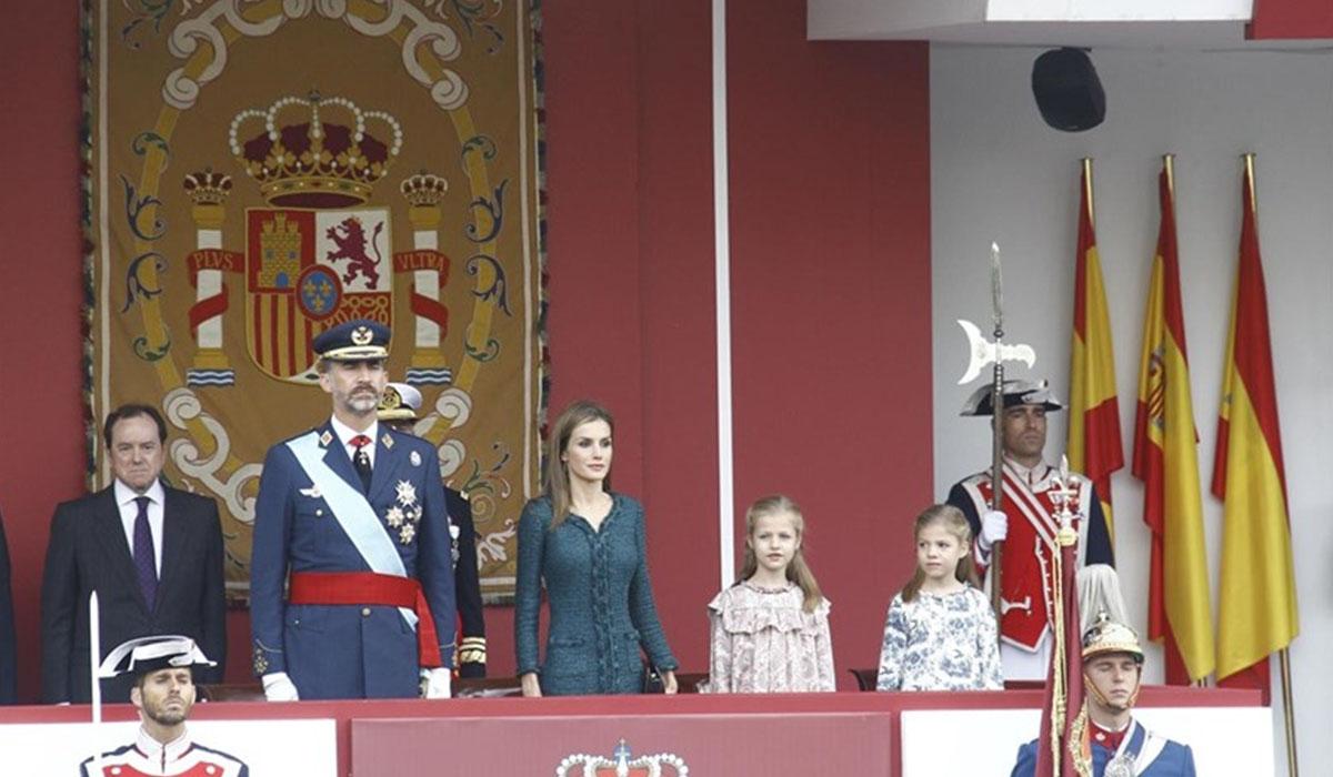 La Familia Real, en un desfile del día de la Fiesta Nacional. EP