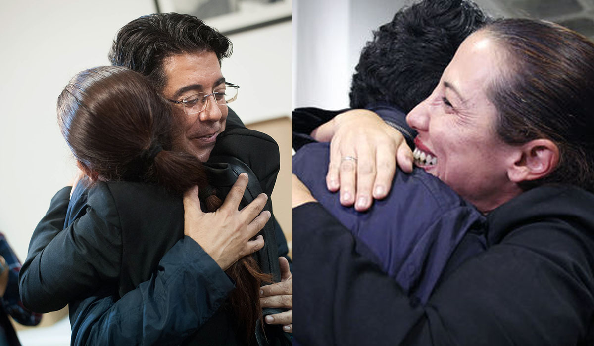 Pedro Martín y Patricia Hernández se abrazan anoche en la sede insular del PSOE en Tenerife, tras conocer los resultados. Fran Pallero / Álex Rosa, Canariasahora.com