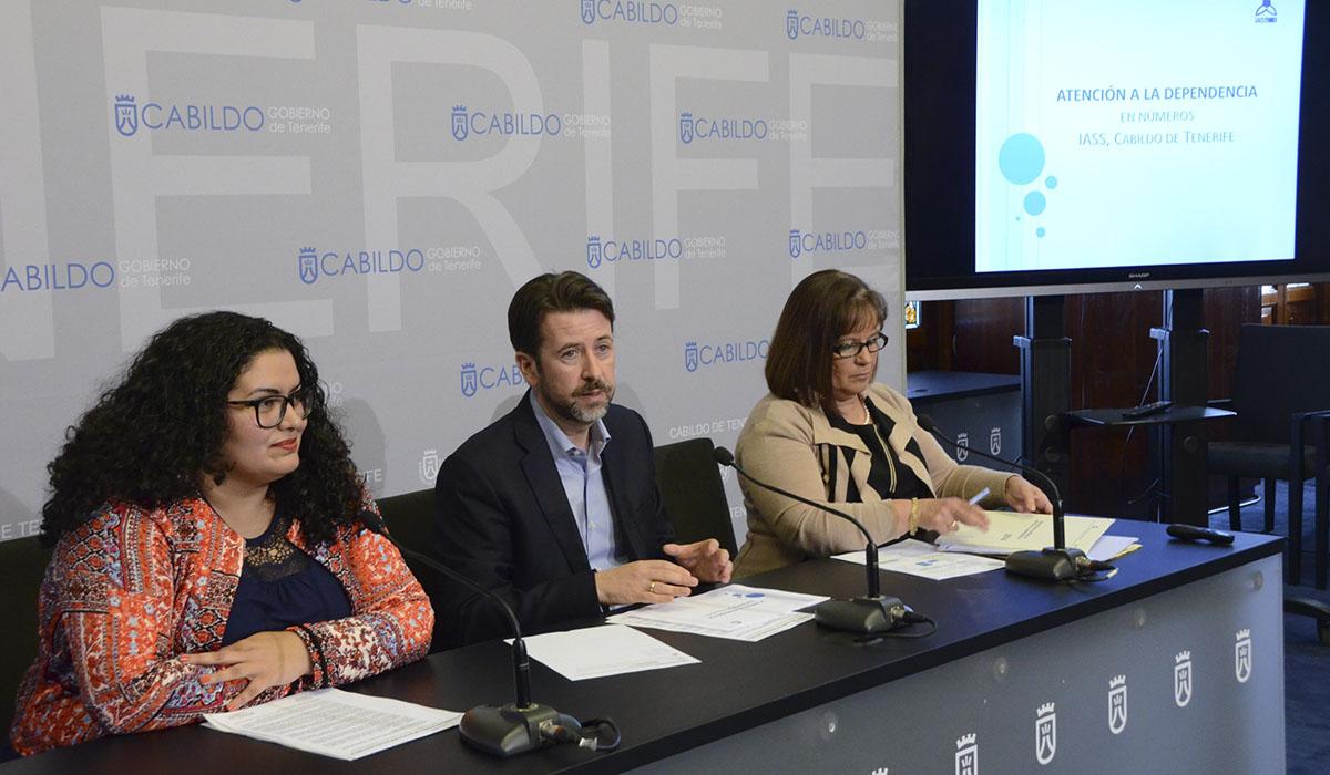 Coromoto Yanes (izq.), Carlos Alonso y Juana María Reyes, en la presentación de los proyectos del IASS. DA