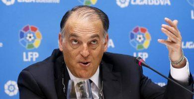 """Tebas: """"No he oído que el Barça haya dicho que no, Messi jugará en LaLiga el año que viene"""""""