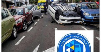 Vuelca en Padre Anchieta al ir borracho y causa daños a cinco vehículos