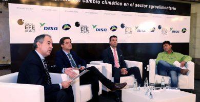 Rodríguez (izq.) moderó el debate entre Martín, Rull y Hernández, que analizaron las consecuencias del cambio climático. DA