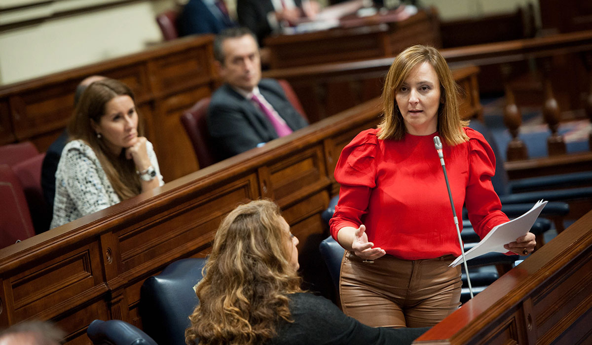 La consejera de Política Territorial, Sostenibilidad y Seguridad del Gobierno de Canarias, Nieves Lady Barreto, ayer en el Parlamento autonómico. Fran Pallero