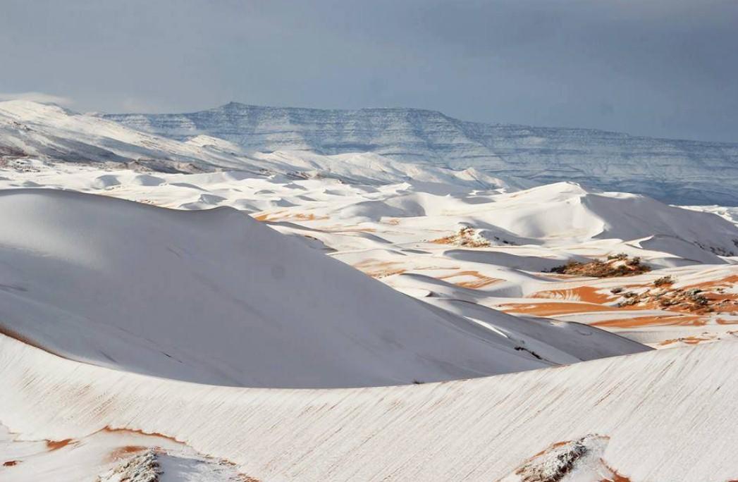 Imágenes de la nevada caída hace pocos días en el Sáhara. / TWITTER