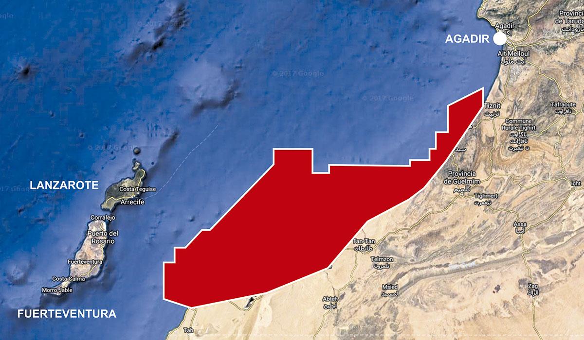 En rojo, zona donde el Gobierno de Marruecos ha dado permiso para extraer petróleo. DA