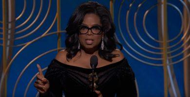Oprah Winfrey, durante su aclamado discurso en los Globos de Oro 2018