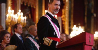 El Rey en la Pascua Militar junto a los reyes Juan Carlos y Sofía. EP